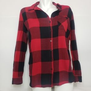 Garage Red & Black Flannel Plaid Buttoned Up Top